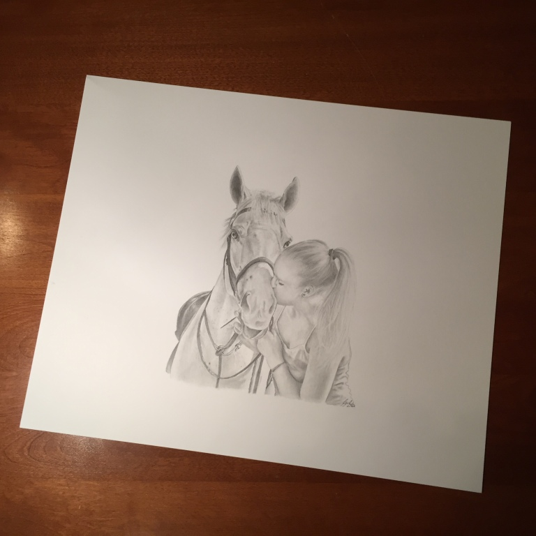 horse drawing on desk