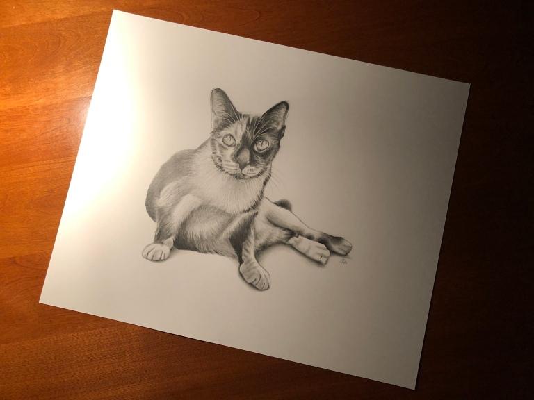 maggie cat portrait table